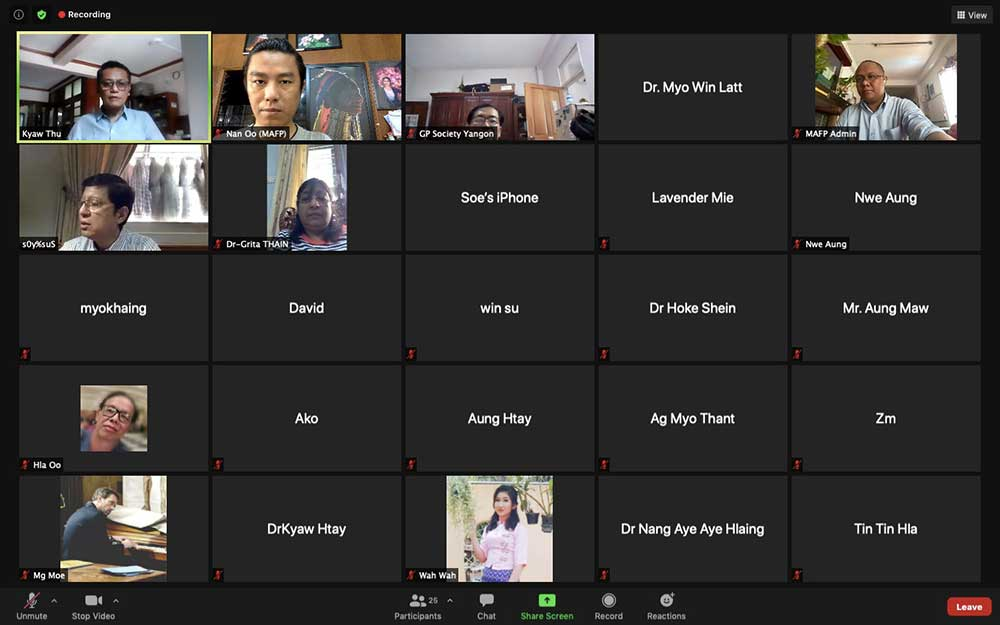 MAFP Organized a Covid Zoom Meeting for Myanmar General Practitioners